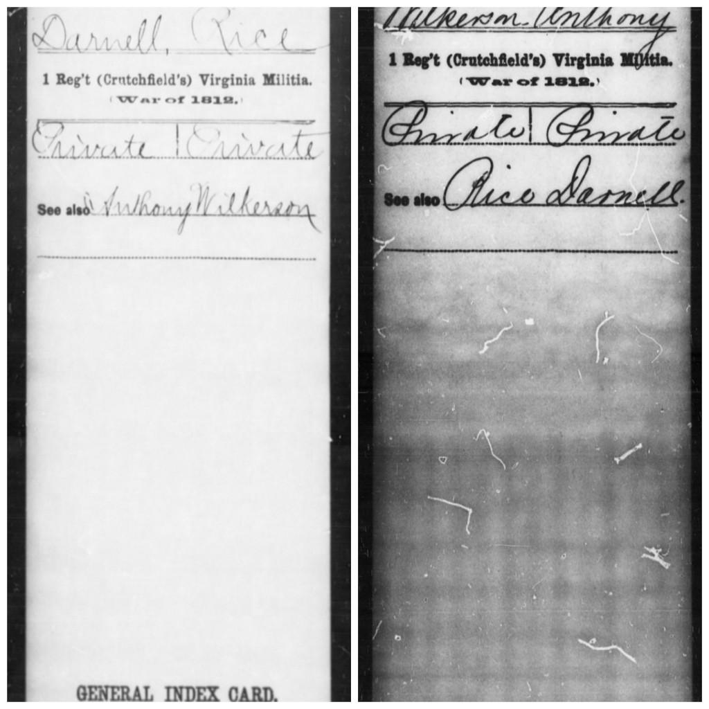 Darnel-Rice C War 1812 2 Service Cards